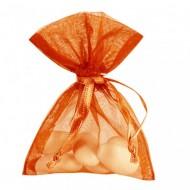 10 Sachets organdi, uni orange, 7.5 x 10 cm