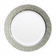 5 Assiettes Prestige, blanches et argent, PS,19cm
