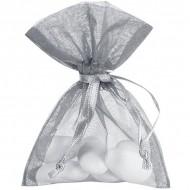10 Organt Taschen, schlicht grau, 7,5 x 10 cm