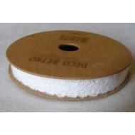 Ruban coton dentelle blanc, adhésif, 1cm x 2m
