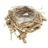 1 Vogelnest-Kerzenhalter, gold