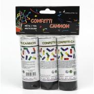 Sachet de 3 canons à confettis métal multicolore, 12 cm