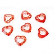 20 confettis de table forme coeur, rouge, 13mm