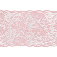 Chemin de table dentelle rose, 17cm x 5m, rose quartz