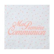 """20 Serviettes """" Ma première Communion, 16,5 x 16,5 cm, 3plis,Corail"""