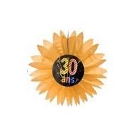 """Eventail en papier 30 ans """"chic"""", diamètre 50 cm"""
