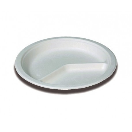 50 Assiettes ronde, canne à sucre diamètre 26 cm , 2 compartiments