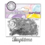 Confettis de table Baptême argent