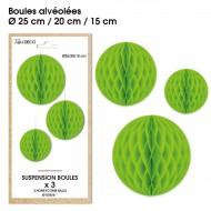 3 Suspensions- boule alvéolée vert