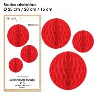 3 Suspensions- boule alvéolée rouge