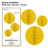 3 Suspensions- boule alvéolée jaune