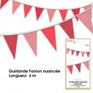 Guirlande Fanion nuancée, 4m, rouge