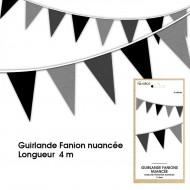 Guirlande Fanion nuancée, 4m, noire