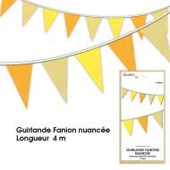 Guirlande Fanion nuancée, 4m, jaune