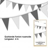 Guirlande Fanion nuancée, 4m, grise