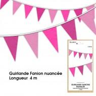 Guirlande Fanion nuancée, 4m, fuchsia