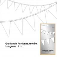 Guirlande Fanion nuancée, 4m, blanche