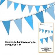 Guirlande Fanion nuancée, 4m, bleue