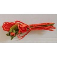 6 Bouquets de fleurs, décoration de table, orange, 7 cm