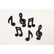 Notes de musique en bois, 25 pièces, noir