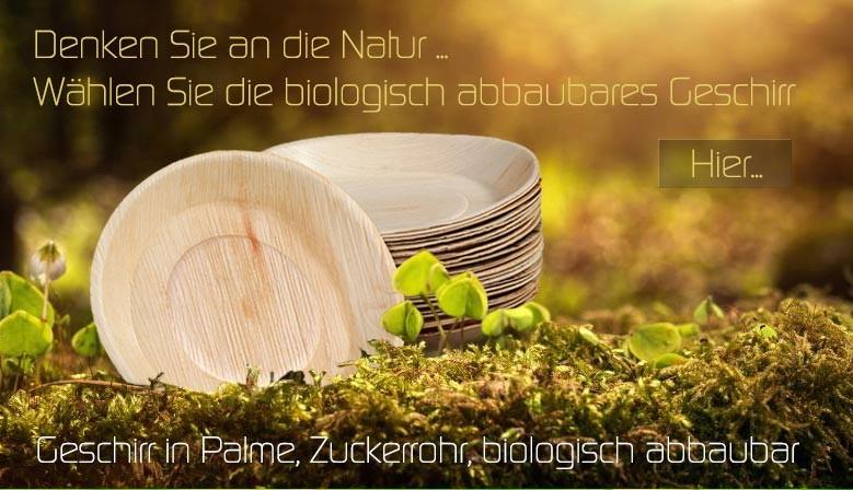 Geschirr in Palme, Zuckerrohr, biologisch abbaubar