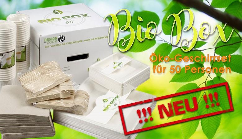 Bio Box - Öko-Geschirrset für 50 Personen